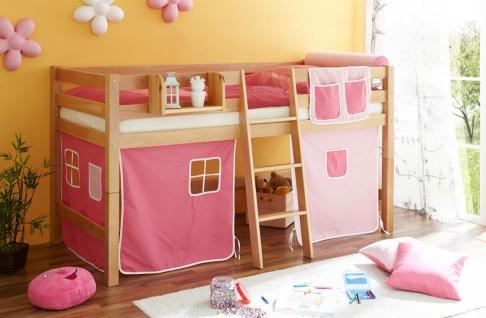 Hochbett Spielbett TORBI -Buche massiv Natur + Vorhang Rosa-Pink