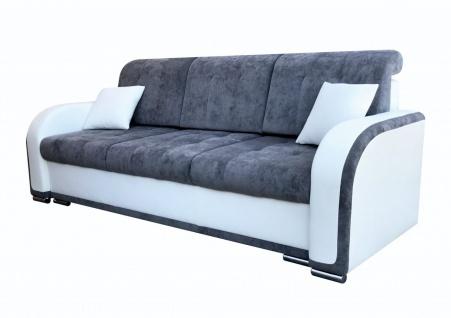 Sofa 3-Sitzer LINDO mit Schlaffunktion Weiss-Grau