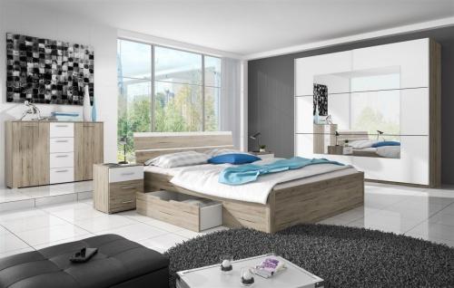 Schlafzimmer Set 5 tlg ALVAR inkl.Doppelbett 180cm und Schrank 221cm