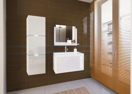 Badmöbel Set 4-Tlg Weiss HGL LOBOS XS inkl.60 cm Waschtisch und LED