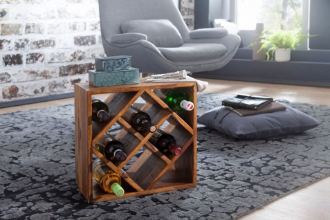 Weinregal Flaschenregal HADAN 40 cm für 8 Flaschen Massivholz Sheesham