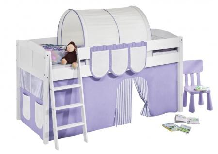 Spielbett Bett -LANDI - Lila Beige - Teilbar-Kiefer Weiss-mit Vorhang - Vorschau 2