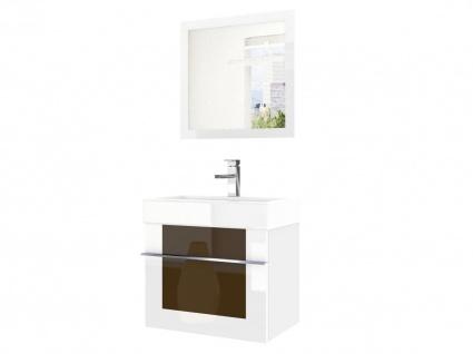 Badmöbel Set 2-tlg DAWINO Set.6 Weiss-Kastanien inkl.Waschtisch 50 cm