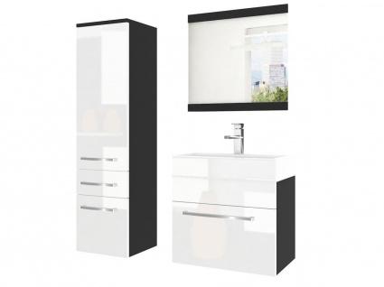 Badmöbel Set 3-tlg MARIO Set.2 Schwarz-Weiß HGL inkl.Waschtisch 50 cm