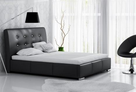 Polsterbett Bett Doppelbett RENE Kunstleder Schwarz 140x200cm