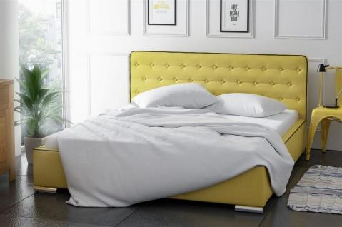 Polsterbett Bett Doppelbett FENJA Polyesterstoff Ockergelb 140x200cm