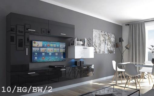 Mediawand Wohnwand 7 tlg - Bedox 3 -Schwarz- Weiss HGL Nr.1/ inkl.LED