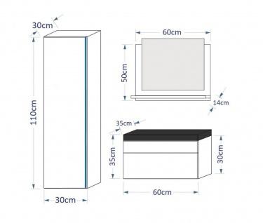 Badmöbel Set 4-Tlg Weiss HGL SKYLINE XS inkl.60 cm Waschtisch + LED - Vorschau 3