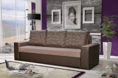 Sofa Designersofa LEEDS 3-Sitzer mit Schlaffunktion Braun