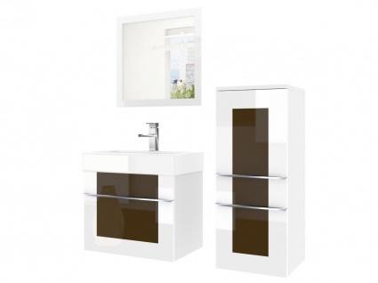 Badmöbel Set 3-tlg DAWINO Set.1 Weiss-Kastanien inkl.Waschtisch 50 cm