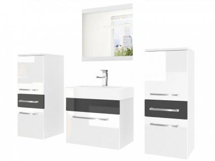 Badmöbel Set 4-tlg MARIO Set.3 Weiss-Schwarz HGL inkl.Waschtisch 50 cm