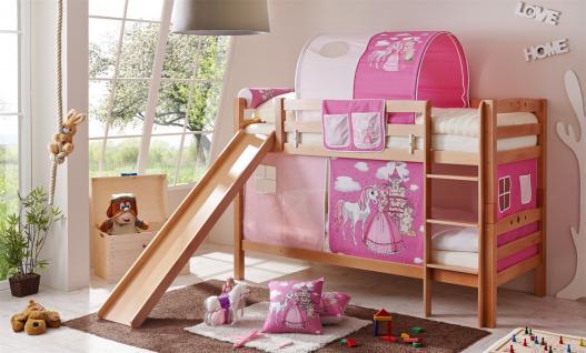 Etagenbett OLI mit Rutsche -Buche Natur inkl.Vorhang Prinzessin Pink
