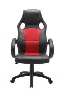 Drehstuhl Bürostuhl Stuhl - Sport - Kunstleder Schwarz - Rot