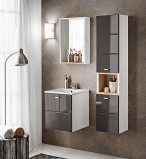 Badmöbel Set 3-tlg Badezimmerset VENTO Grau HGL inkl.Waschtisch 50cm