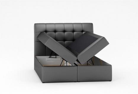 Boxspringbett Schlafzimmerbett TURIN Kunstleder Schwarz 100x200 cm - Vorschau 2