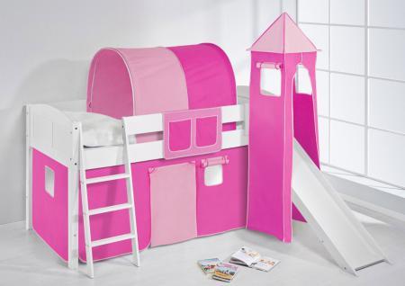 Spielbett mit Rutsche, Turm, Vorhang -LANDI/S -Pink Rosa - Kiefer Weiss