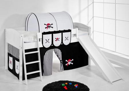 Spielbett mit Rutsche -LANDI/R -Pirat Schwarz -Kiefer Weiss-mit Vorhang