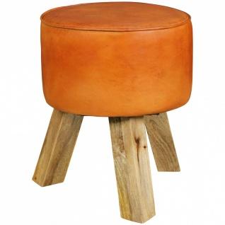 Hocker Sitzhocker BULL Echtleder braun rund 40x40x45cm