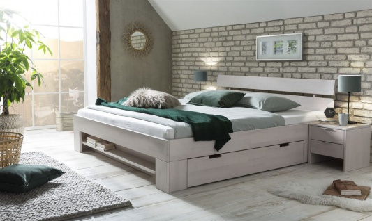 Massivholzbett Schlafzimmerbett FRANKO Set 1 Buche Weiss 200x200 cm