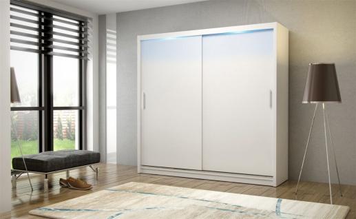 Schiebetürenschrank Schrank DOLM 02 Weiss matt 180x215 cm inkl.LED