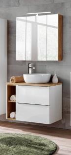 Badmöbel Set 4-tlg Badezimmerset PERUGIA Weiss HGL ohne Waschbecken