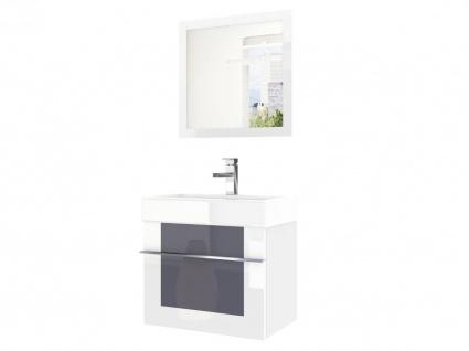 Badmöbel Set 2-tlg DAWINO Set.6 Weiss-Grau inkl.Waschtisch 50 cm