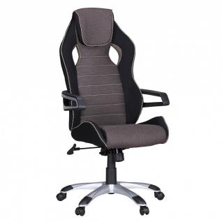 Drehstuhl Bürostuhl Chefsessel BOLD Stoff- Schwarz / Hellgrau
