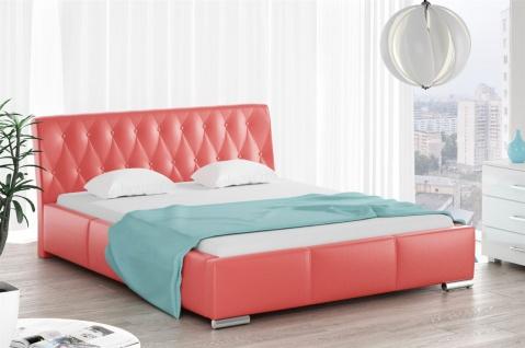 Polsterbett Bett Doppelbett THORE Kunstleder Rot 160x200cm