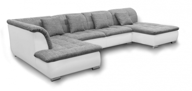 Couchgarnitur NICOLE mit Schlaffunktion Ottomane Rechts Grau/Weiß