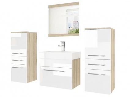 Badmöbel Set 4-tlg MARIO Set.3 Sonoma-Weiss HGL inkl.Waschtisch 50 cm
