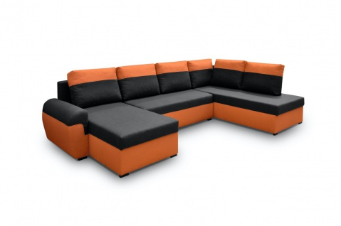 Wohnlandschaft U-Form PAROS Orange-Schwarz Ottomane Links