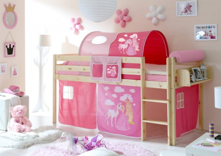 Hochbett Bett DANY Kiefer Natur inkl.Vorhang Horse Pink