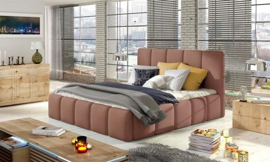 Polsterbett Doppelbett VERONA Set 1 Polyesterstoff Rose 140x200cm