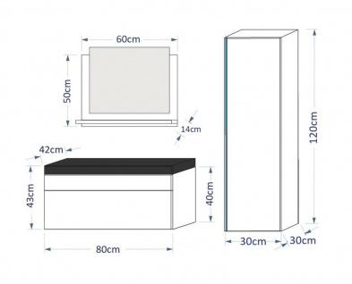 Badmöbel Set 4-Tlg Schwarz HGL SKYLINE XS inkl.80 cm Waschtisch + LED - Vorschau 2