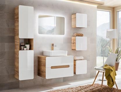 Badmöbel Set 7-tlg Badezimmerset FERMO Weiss HGL inkl. Waschtisch