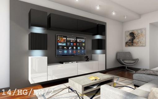 Mediawand Wohnwand 10 tlg - Konzept 40 - Weiß / Schwarz Hochglanz