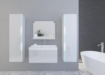Badmöbel Set 5-Tlg Weiss HGL SKYLINE inkl.80 cm Waschtisch und LED