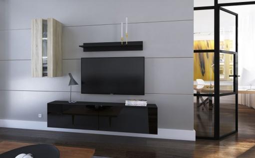 Mediawand Wohnwand 4 tlg - NEXI 7 - Schwarz Hochglanz-Sonoma matt +LED