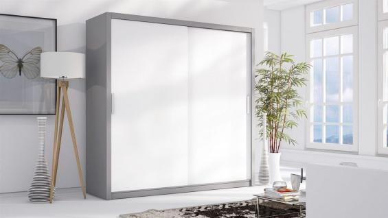 Schiebetürenschrank Schrank LUND Grau/ Weiss matt 220x215 cm