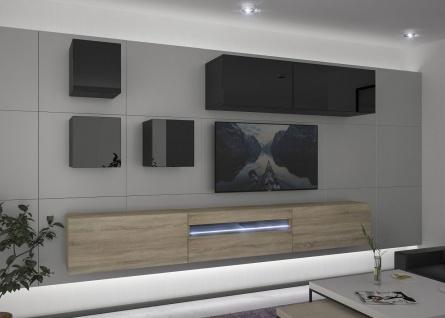 Mediawand Wohnwand 8 tlg - NEXI 10 - Sonoma matt- Schwarz HGL inkl.LED