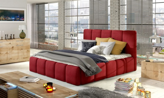 Polsterbett Doppelbett VERONA Set 1 Polyesterstoff Rot 120x200cm