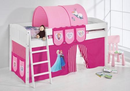 Spielbett Bett -LANDI - FROZEN 2 -Teilbar - Kiefer Weis -mit Vorhang
