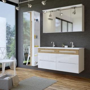 Badmöbel Set 5-tlg Badezimmerset LAXY 2 Weiss HGL inkl.Waschtisch 120cm