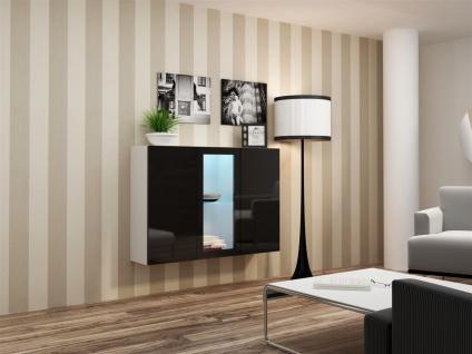 "Sideboard Hängesideboard "" LUGO"" 120x38x90 cm Weiss/Schwarz HGL mit LED"