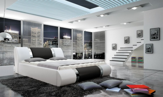 Polsterbett Doppelbett MYTHOS Kunstleder Weiss- Schwarz 180x200cm