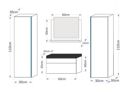 Badmöbel Set 5-Tlg Weiss HGL SKYLINE inkl.60 cm Waschtisch und LED - Vorschau 3