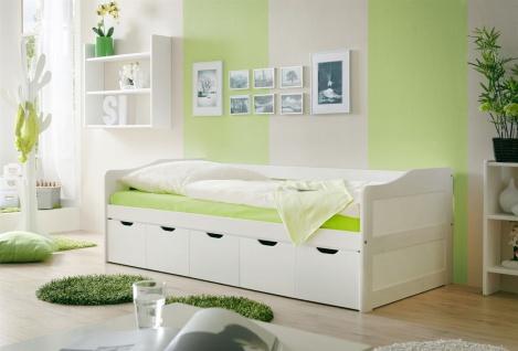 Sofabett mit Schubkästen NELY Kiefer Weiss 90x200 cm