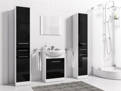 Badmöbel Set 5-Tlg Weiss / Schwarz HGL SEVILLA XL inkl.Waschtisch - Vorschau 3