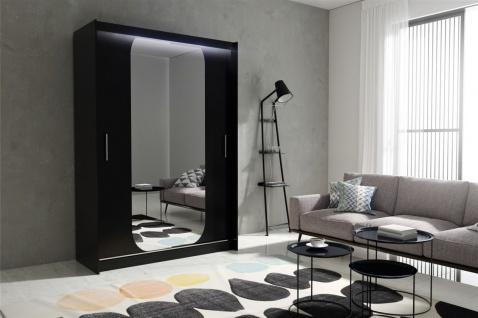 Schiebetürenschrank Schrank DOLM 11 Schwarz matt 150x213 cm inkl.LED