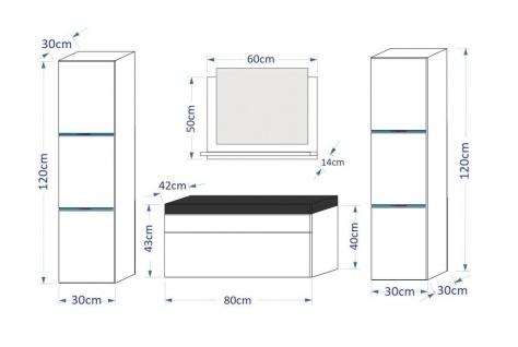 Badmöbel Set 5-Tlg Schwarz HGL DREAM XL inkl.80 cm Waschtisch und LED - Vorschau 2